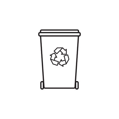 flat cartoon outline Recycle Bin for Utilization of Garbage. Saving Of The Environment Illustration isolated on white background Vettoriali
