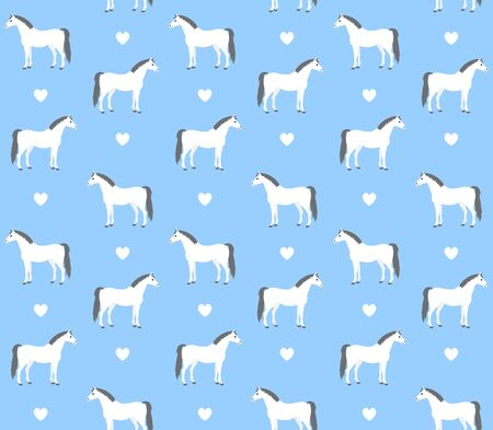 equestrian seamless pattern of flat cartoon white gray horse and hearts isolated on blue background Illustration