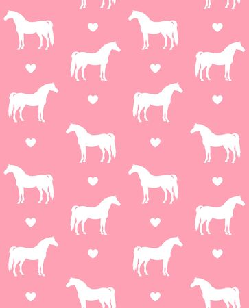 equestrian seamless pattern of white horse silhouette and hearts isolated on pink background
