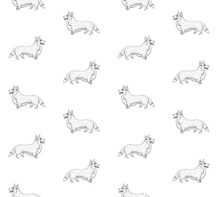 seamless pattern of hand drawn doodle sketch corgi dog isolated on white background