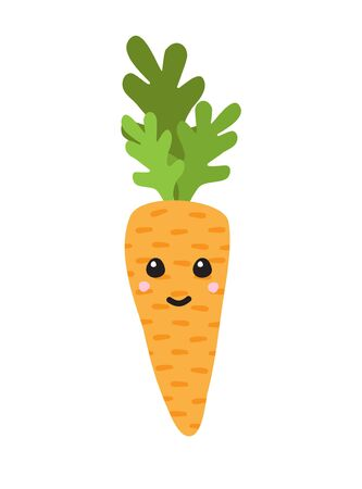 Vector flat cartoon hand drawn doodle carrot with kawaii face isolated on white background