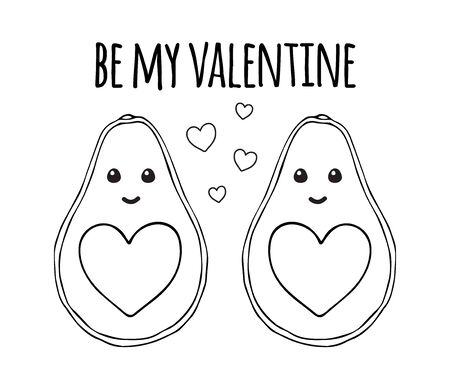 Vector hand drawn doodle cartoon avocado with hearts valentine day greeting card. Love black outline print with be my valentine text isolated on white background