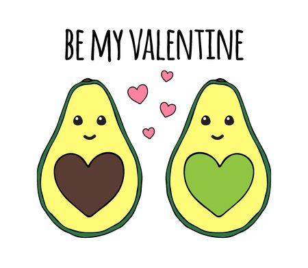 Vector hand drawn doodle cartoon avocado with hearts valentine day greeting card. Love colored print with be my valentine text isolated on white background Ilustracja