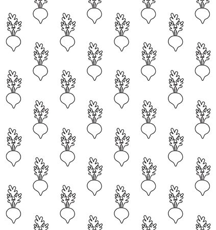 Vector seamless pattern of flat outline hand drawn doodle beet root with kawaii face isolated on white background Ilustracja