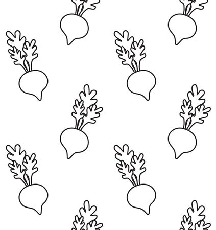Vector seamless pattern of black outline hand drawn doodle beet root with kawaii face isolated on white background