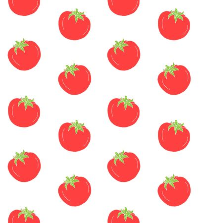 Vector seamless pattern of hand drawn doodle sketch tomato isolated on white background