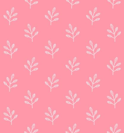 Vector seamless pattern of hand drawn doodle sketch white floral branch isolated on pink background Foto de archivo - 140896401