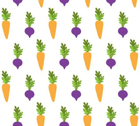 Vector seamless pattern of hand drawn doodle cartoon beet root and carrot isolated on white background