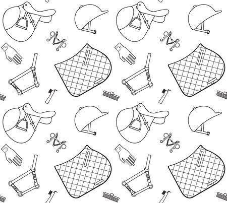 Vector seamless pattern of flat black outline horse riding sport equipment isolated on white background