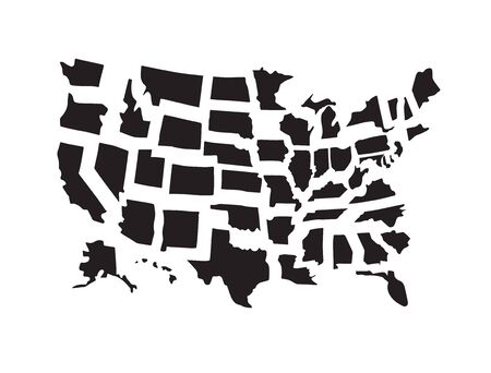 Vector set bundle of black hand drawn doodle sketch outline usa states map isolated on white background 向量圖像