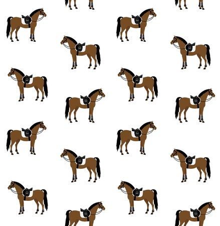 Vector seamless pattern of bay brown flat cartoon equipped horse with saddle and bridle isolated on white background Ilustrace