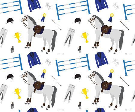 Vector seamless pattern of flat cartoon horse riding sport equipment isolated on white background Ilustrace