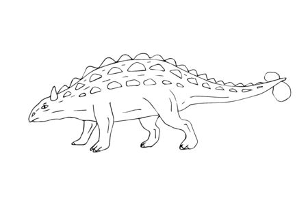 hand drawn doodle sketch ankylosaurus dinosaur isolated on white background