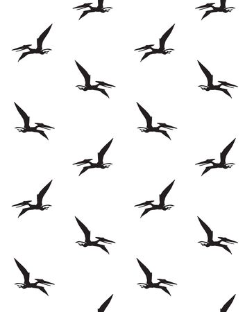 seamless pattern of black flying pterodactyl dinosaur silhouette isolated on white background