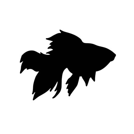 Vector flat black silhouette of golden fish isolated on white background Archivio Fotografico - 142017596