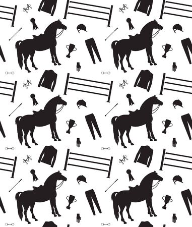 Vector equestrian seamless pattern of black horse riding equipment silhouette isolated on white background