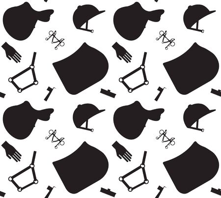 Vector equestrian seamless pattern of black flat horse riding sport equipment isolated on white background