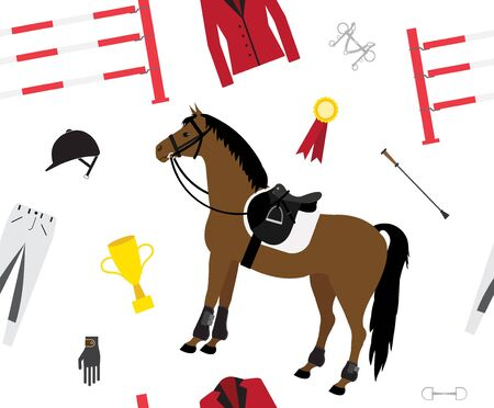 seamless pattern of flat cartoon horse riding equipment isolated on white background