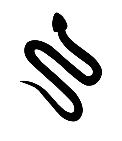 black snake silhouette isolated on white background Ilustração