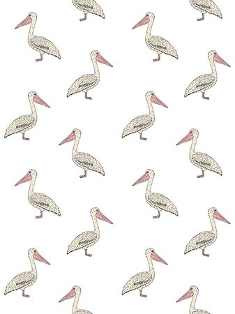 seamless pattern of hand drawn doodle sketch pelican isolated on white background