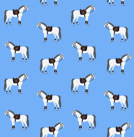 Seamless pattern of white gray flat cartoon equipped horse with saddle and bridle isolated on blue background