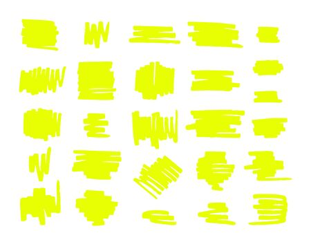 set bundle of neon yellow highlighter brush lines isolated on white background