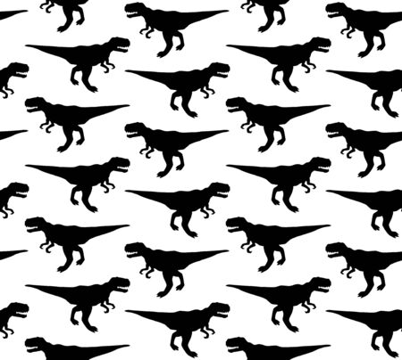 seamless pattern of black tyrannosaur rex dinosaur silhouette isolated on white background