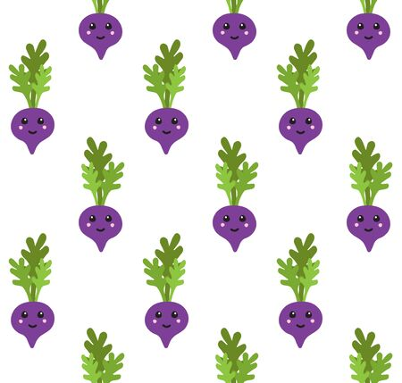 Vector seamless pattern of flat cartoon hand drawn doodle beet root with kawaii face isolated on white background