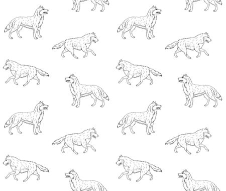 Vector seamless pattern of hand drawn doodle sketch running husky dog isolated on white background