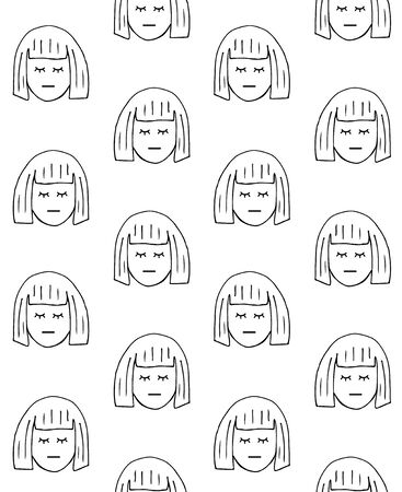 Vector seamless pattern of hand drawn doodle sketch woman head isolated on white background 向量圖像