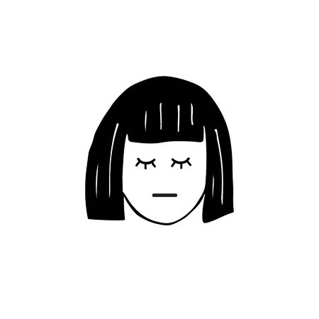 Vector hand drawn doodle sketch black girl woman face head isolated on white background