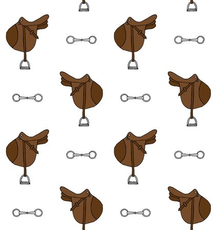 Vector seamless pattern of hand drawn doodle sketch colored horse riding equestrian saddle and bit isolated on white background