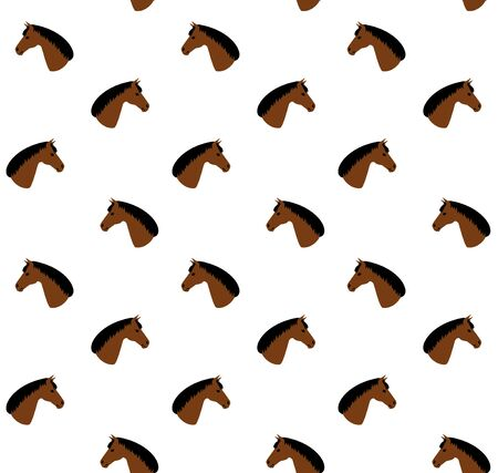 Vector seamless pattern of flat cartoon brown bay horse head isolated on white background