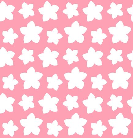 Vector seamless pattern of white hand drawn doodle forget me not flower silhouette isolated on pastel pink background  イラスト・ベクター素材