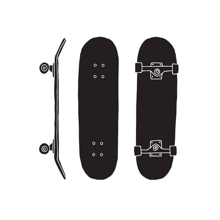 Vector hand drawn doodle sketch set of black skateboard isolated on white background
