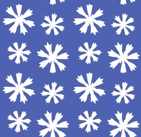 Vector seamless pattern of hand drawn doodle white cornflower silhouette isolated on blue background