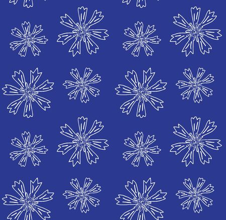 Vector seamless pattern of white hand drawn doodle sketch cornflower isolated on blue background Ilustrace
