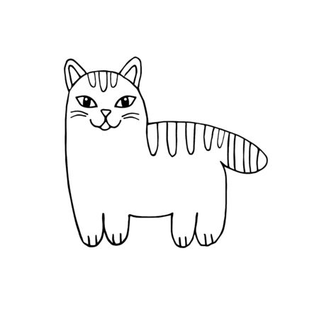 Vector hand drawn doodle sketch cat isolated on white background 向量圖像