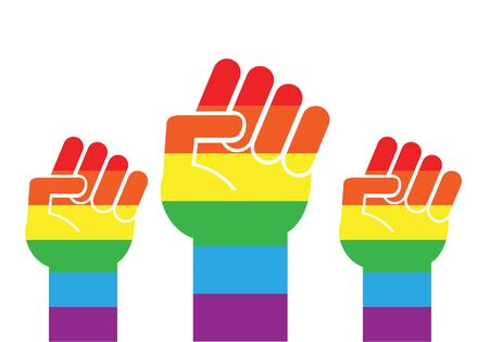 Vector flat cartoon rainbow flag three fist isolated on white background