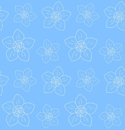Vector seamless pattern of white hand drawn doodle forget me not flower isolated on blue background