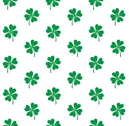 Vector seamless pattern of hand drawn doodle sketch green shamrock clover isolated on white background