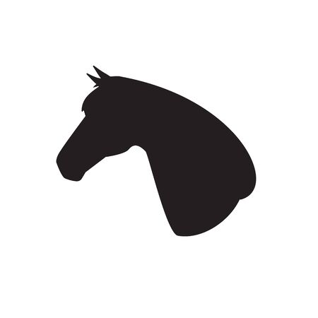 Vector flat black horse head silhouette isolated on white background Ilustrace