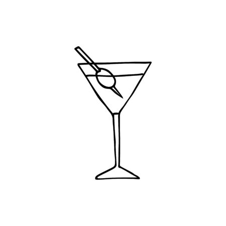 Vector hand drawn doodle sketch martini cocktail isolated on white background 向量圖像