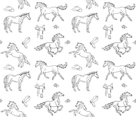 Vector seamless pattern of hand drawn doodle sketch horses and cowboy western equipment isolated on white background