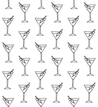 seamless pattern of hand drawn doodle sketch martini cocktail isolated on white background