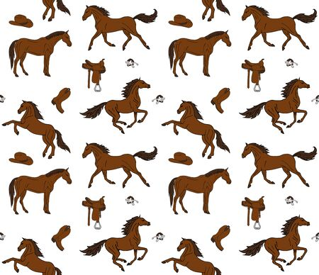 seamless pattern of hand drawn doodle sketch colored horses and cowboy western equipment isolated on white background