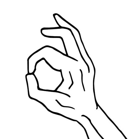 Vector hand drawn doodle sketch okay sign isolated on white background