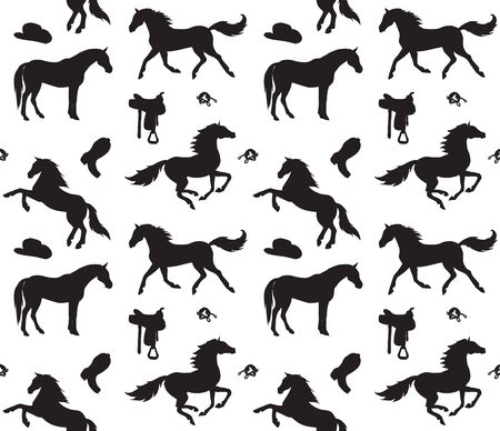 Vector seamless pattern of black horses and cowboy western equipment silhouette isolated on white background