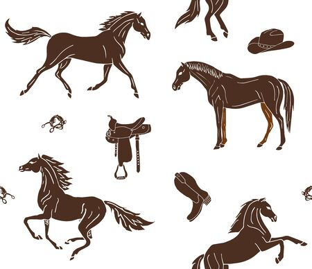 Vector seamless pattern of hand drawn doodle sketch brown horses and cowboy western equipment isolated on white background 向量圖像