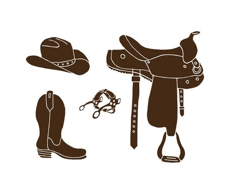 Vector set bundle of brown hand drawn doodle sketch western cowboy equipment isolated on white background. Saddle, boots, hat illustration